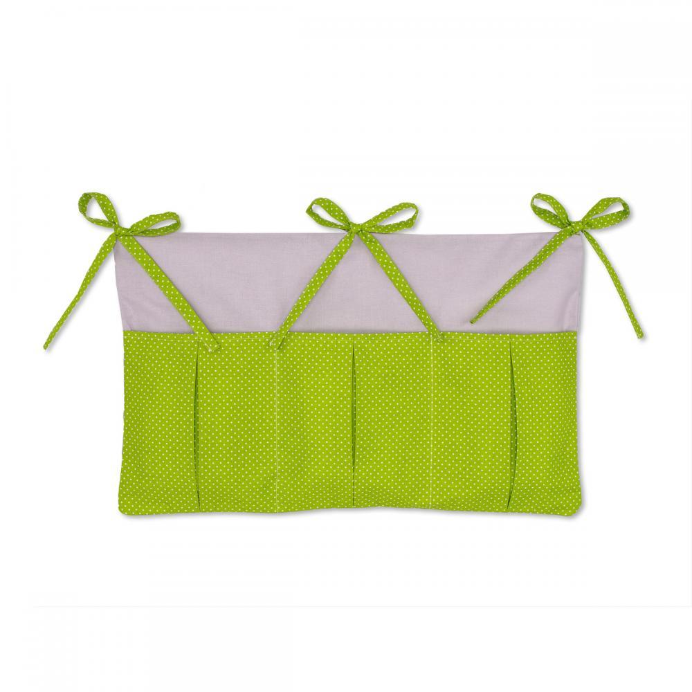 KraftKids Betttasche Unigrau und weiße Punkte auf Grün