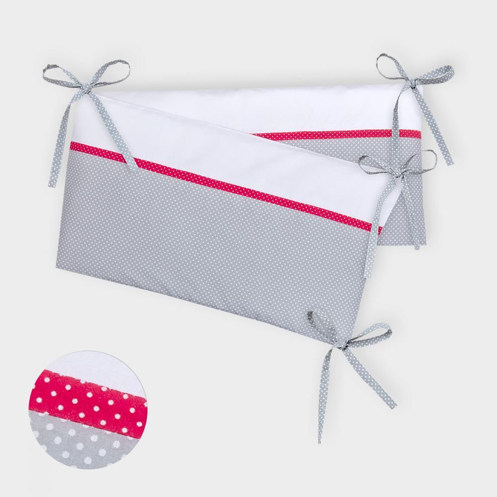 KraftKids Nestchen Uniweiss und weiße Punkte auf Grau Nestchenlänge 60-70-60 cm für Bettgröße 140 x 70 cm