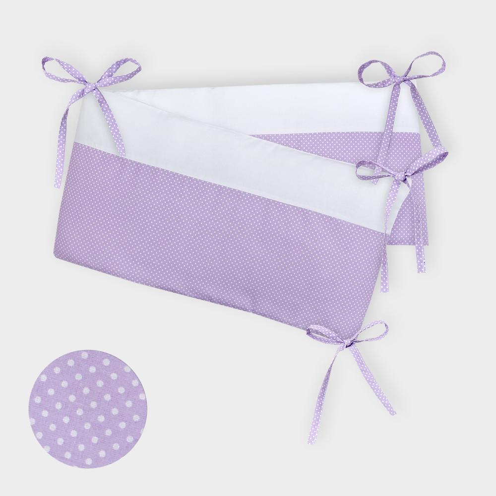 KraftKids Nestchen Uniweiss und weiße Punkte auf Lila Nestchenlänge 60-70-60 cm für Bettgröße 140 x 70 cm