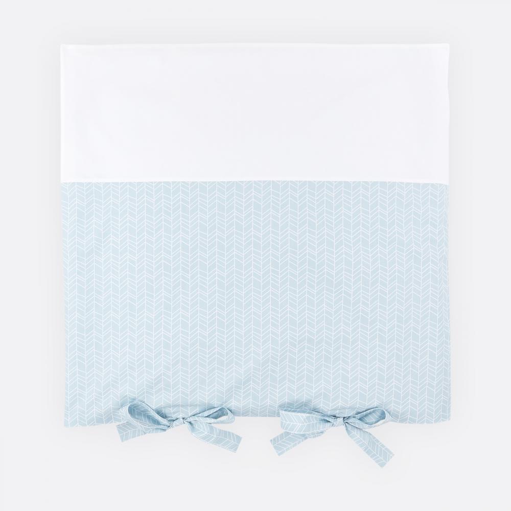 KraftKids Bezug für Wickeltischauflage weiße Feder Muster auf Blau