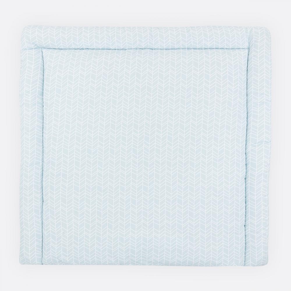 KraftKids Wickelauflage weiße Feder Muster auf Blau breit 75 x tief 70 cm