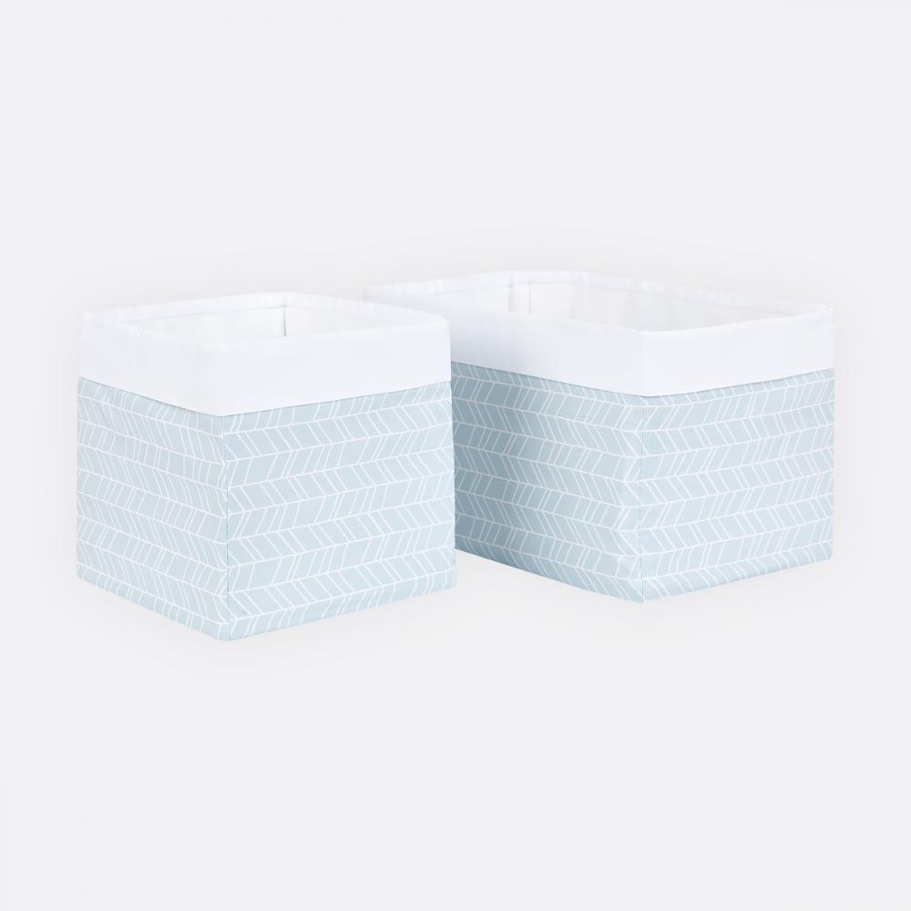 KraftKids Körbchen weiße Feder Muster auf Blau 20 x 33 x 20 cm