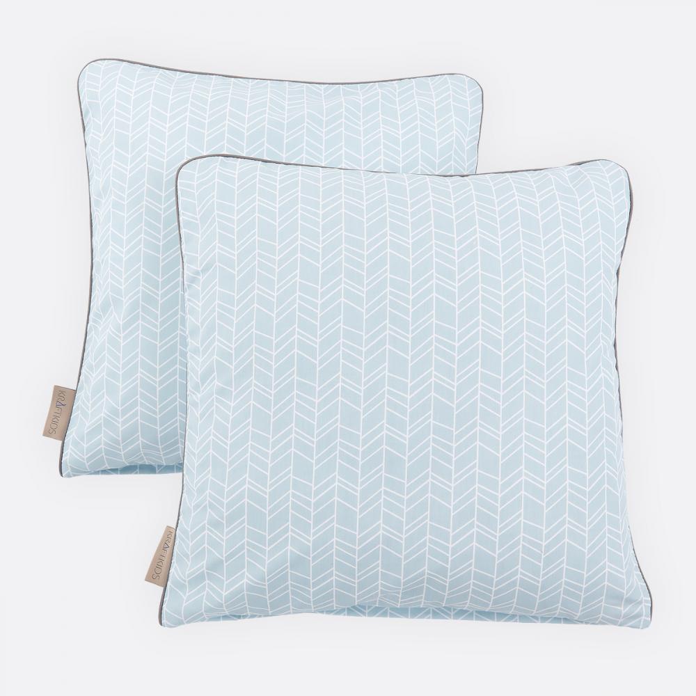 KraftKids Kissenbezug weiße Feder Muster auf Blau