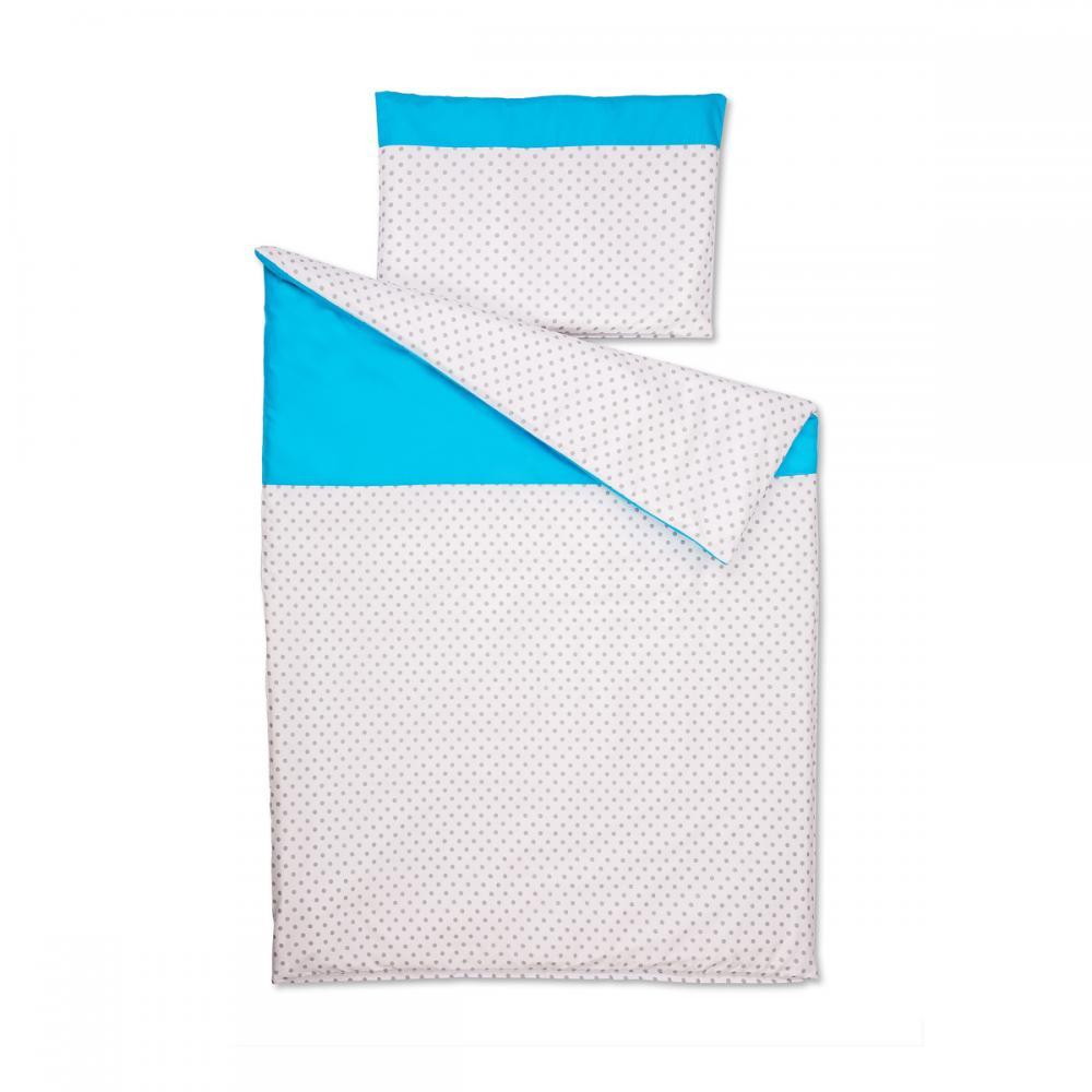 KraftKids Bettwäscheset Unitürkis und graue Punkte auf Weiss 100 x 135 cm, Kissen 40 x 60 cm