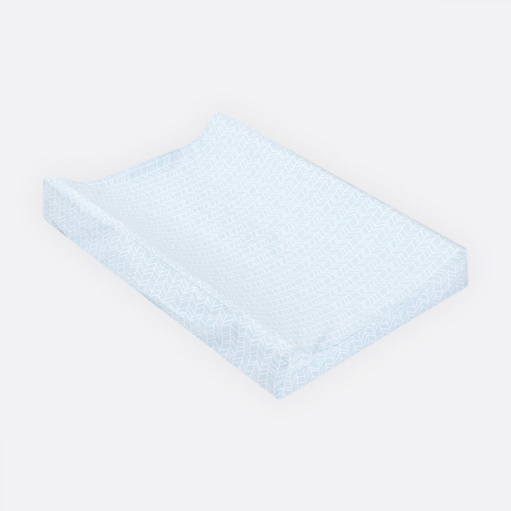 KraftKids Bezug für Keilwickelauflage weiße Feder Muster auf Blau