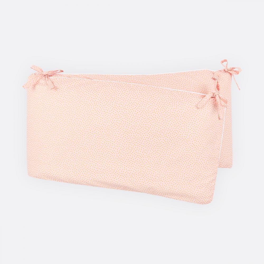 KraftKids Nestchen goldene unregelmäßige Punkte auf Rosa Nestchenlänge 60-60-60 cm für Bettgröße 120 x 60 cm