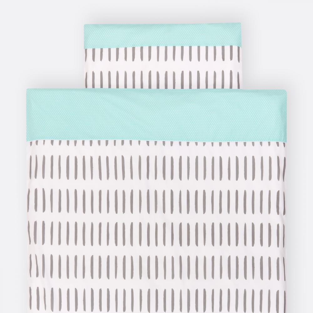 KraftKids Bettwäscheset weiße Punkte auf Mint und graue Striche auf Weiß 140 x 200 cm, Kissen 80 x 80 cm