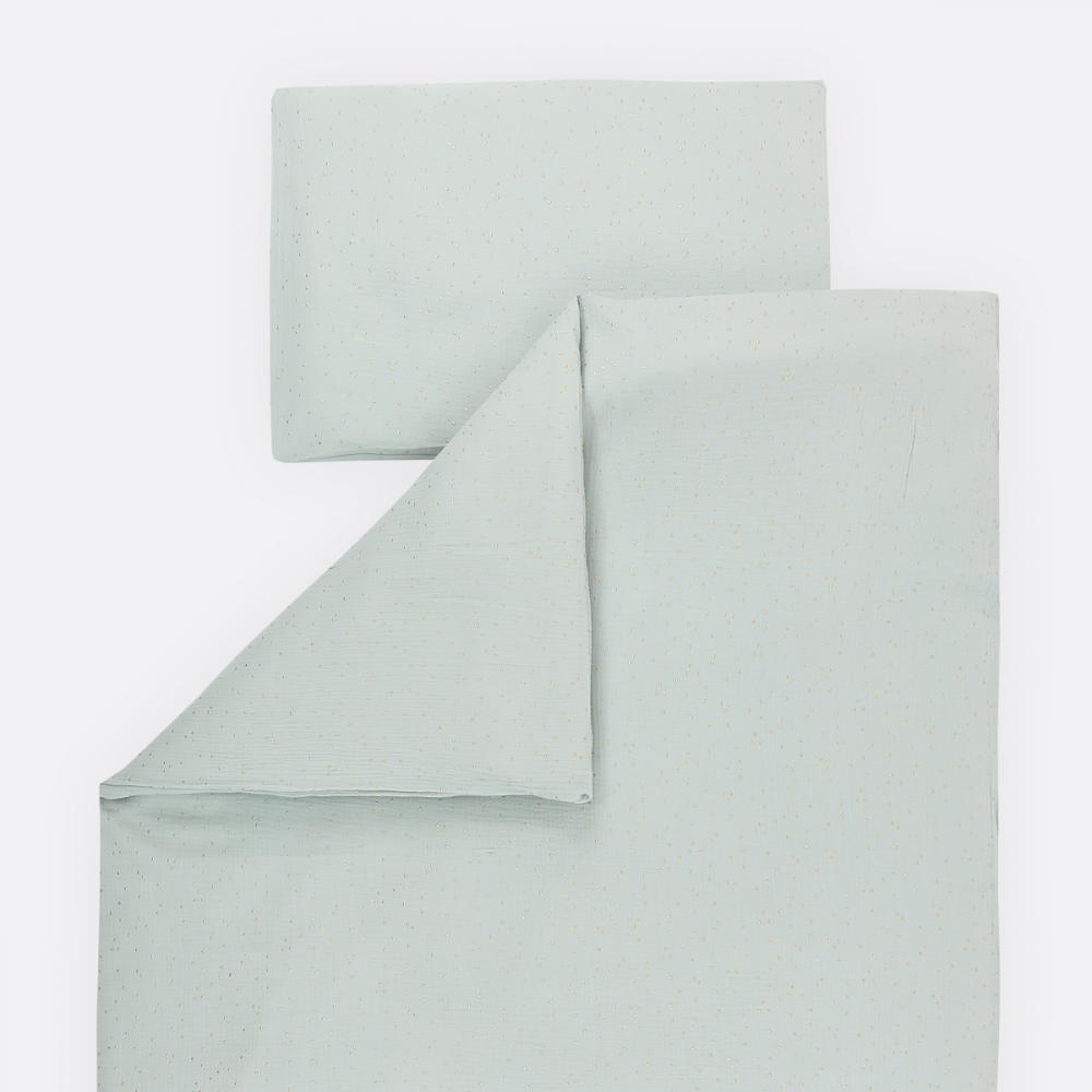KraftKids Bettwäscheset Musselin goldene Punkte auf Grün 100 x 135 cm, Kissen 40 x 60 cm