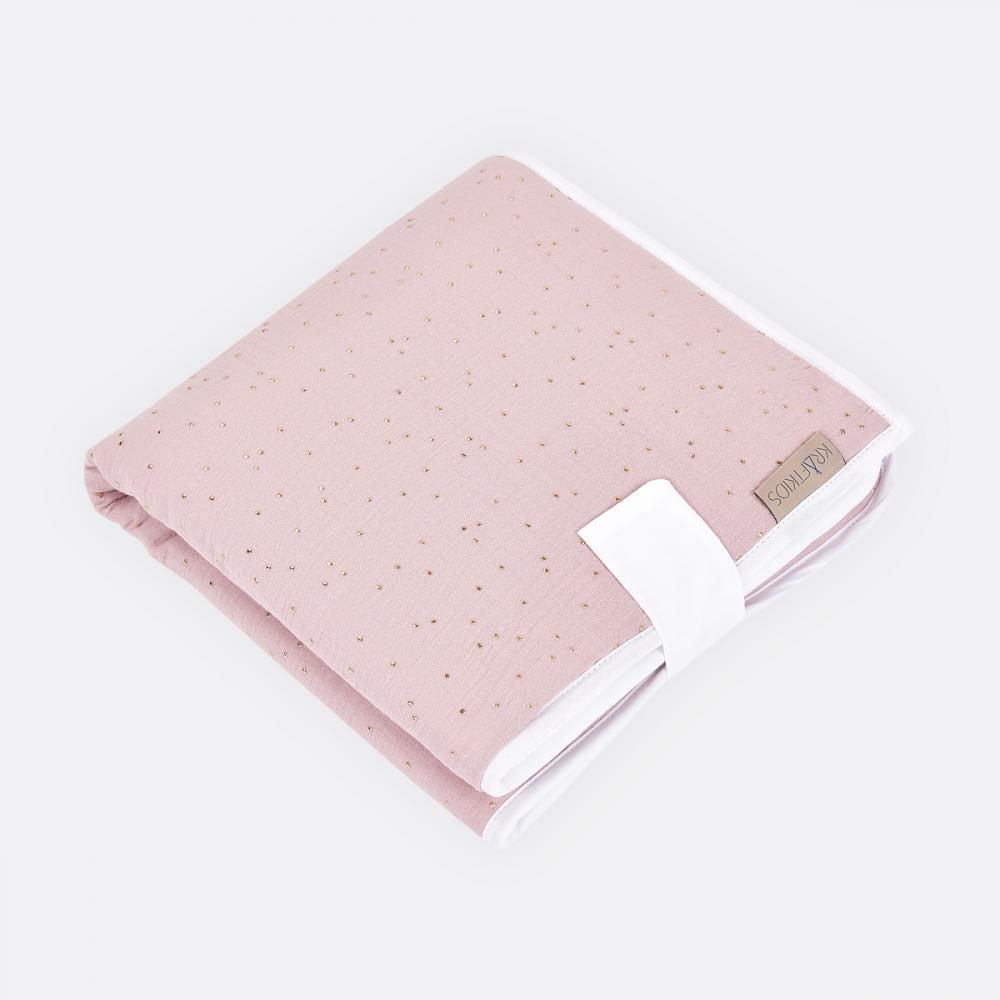 KraftKids Reisewickelunterlage Musselin goldene Punkte auf Rosa 3 Lagen wasserundurchlässig weich Frotte 100% Baumwolle