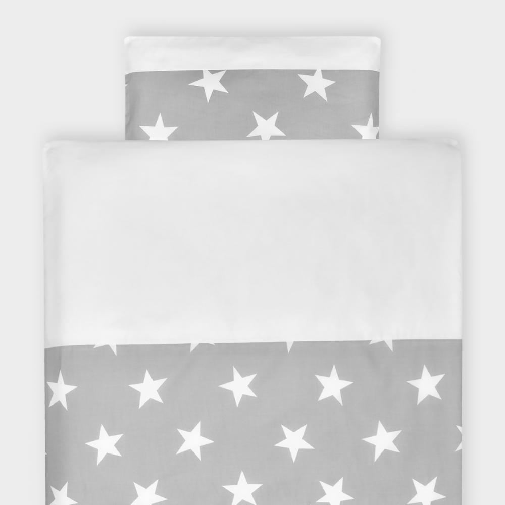 KraftKids Bettwäscheset große weiße Sterne auf Grau und Uniweiss 140 x 200 cm, Kissen 80 x 80 cm