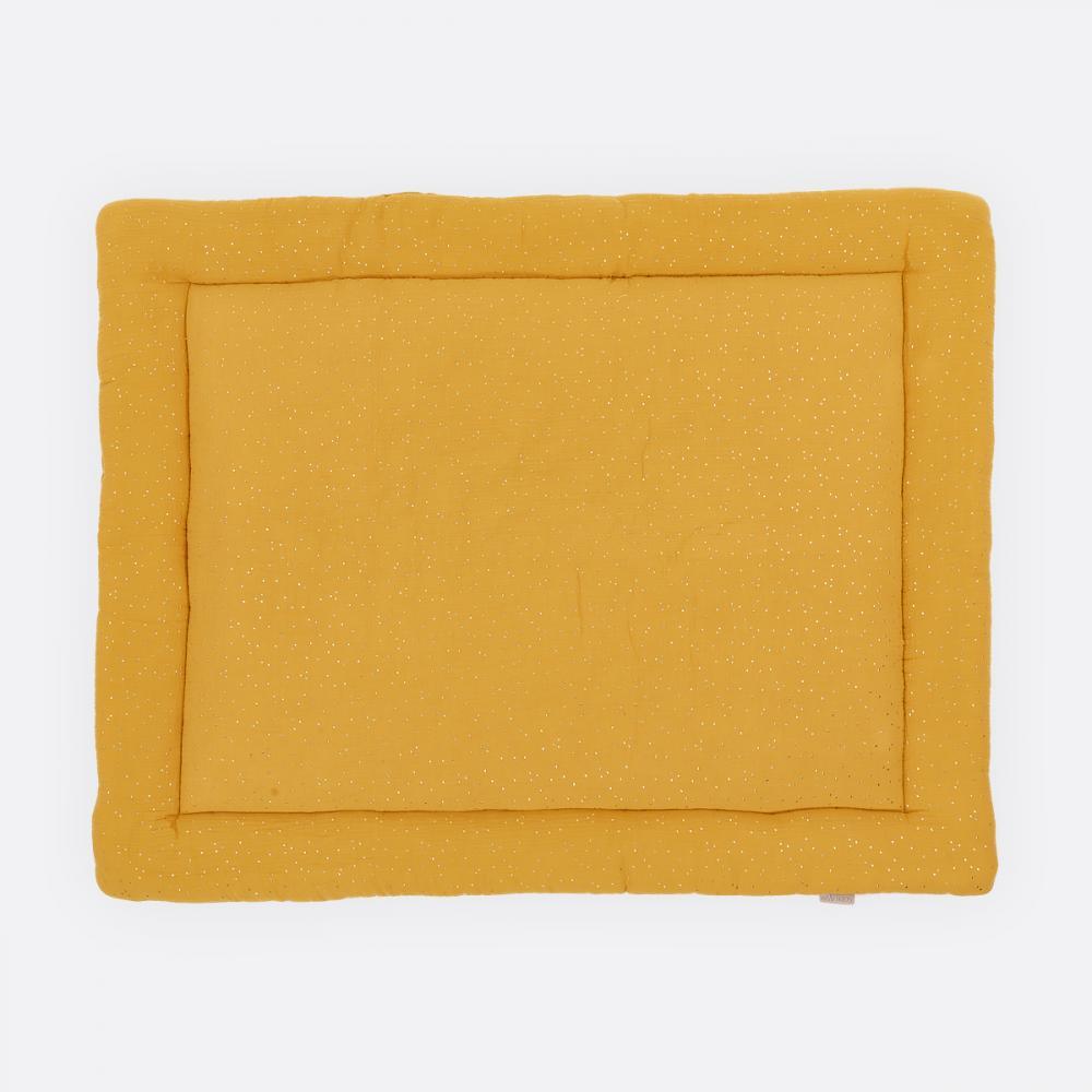 KraftKids Krabbeldecke Musselin goldene Punkte auf Gelb