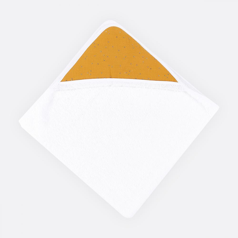 KraftKids Kapuzenhandtuch Musselin goldene Punkte auf Gelb