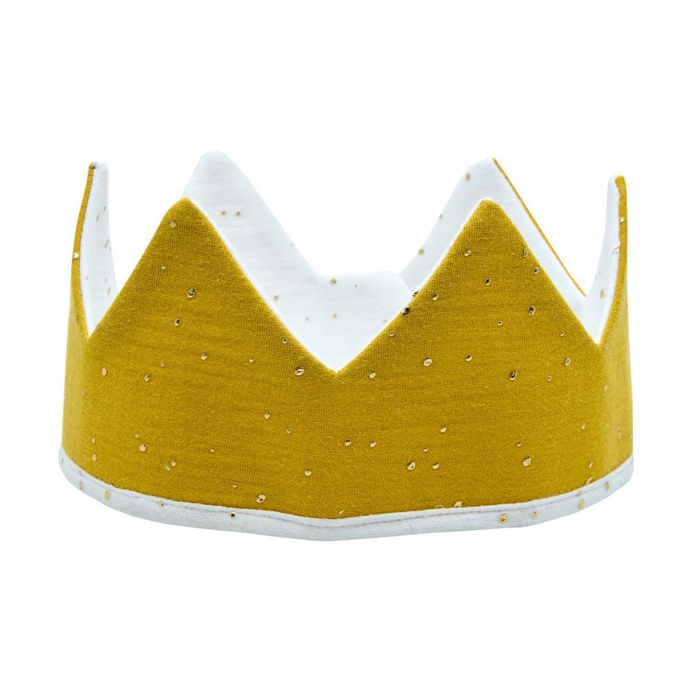 KraftKids Stoffkrone Musselin goldene Punkte auf Gelb