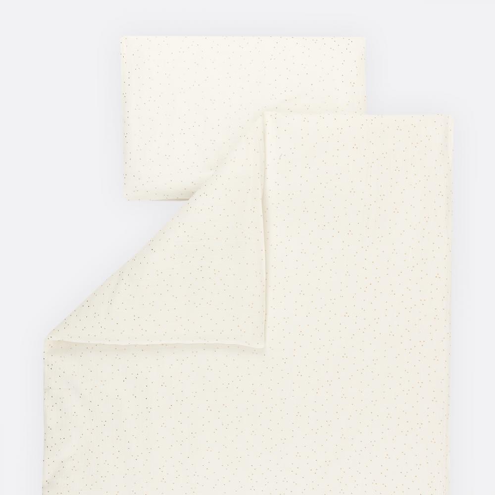 KraftKids Bettwäscheset Musselin goldene Punkte auf Weiß 100 x 135 cm, Kissen 40 x 60 cm