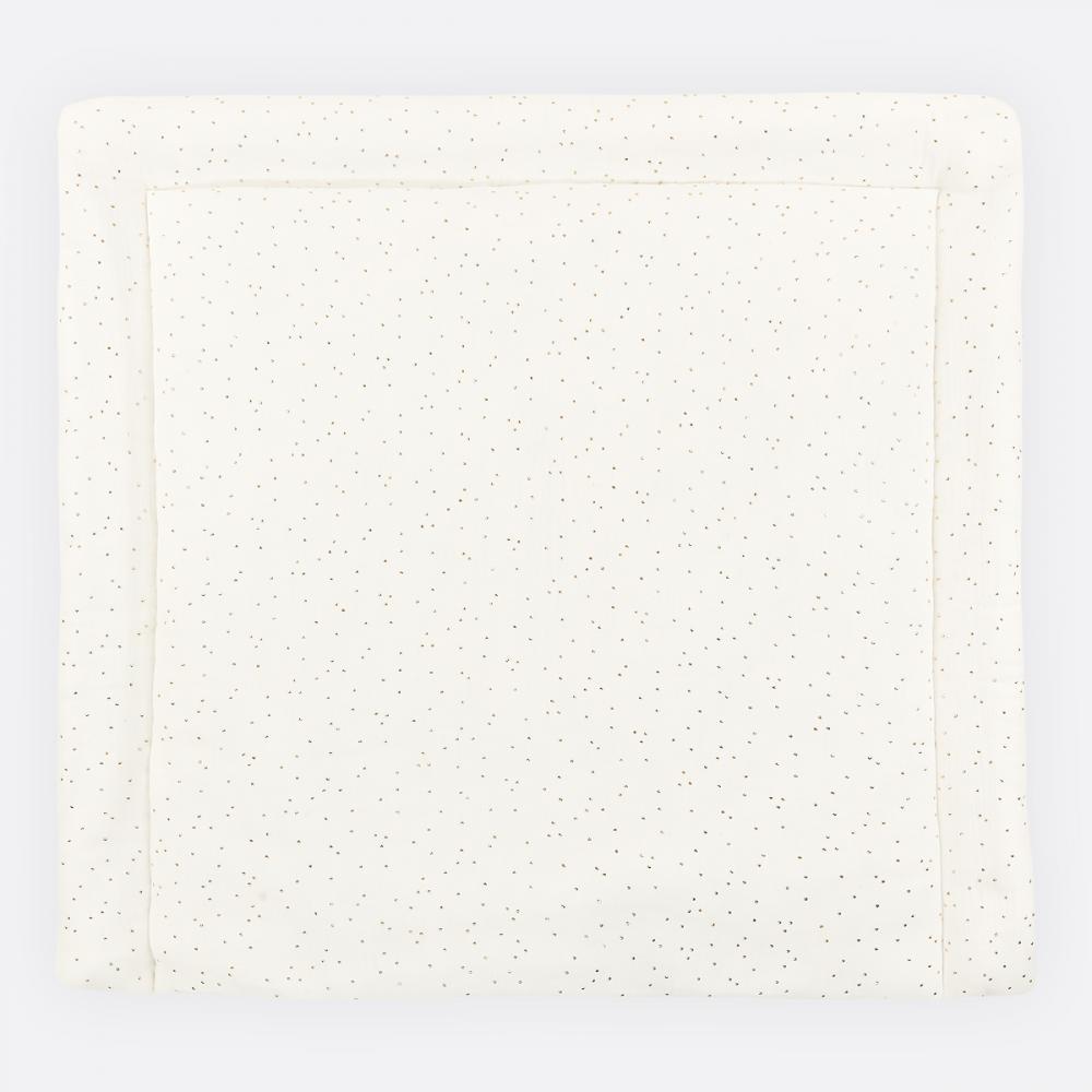KraftKids Wickelauflage Musselin goldene Punkte auf Weiß breit 78 x tief 78 cm z. B. für MALM oder HEMNES Kommodenaufsatz von KraftKids