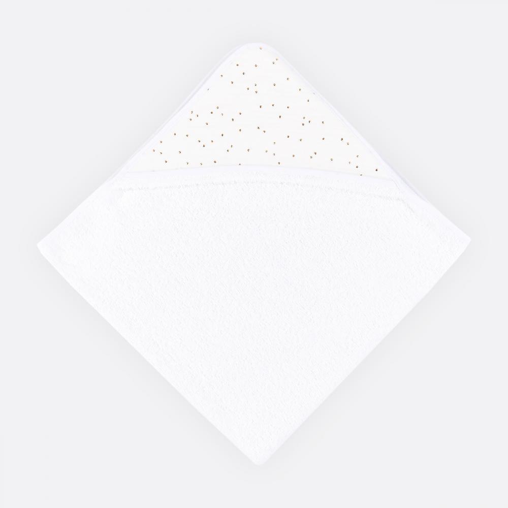 KraftKids Kapuzenhandtuch Musselin goldene Punkte auf Weiß