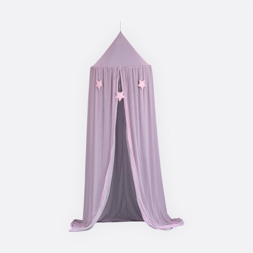 KraftKids Hängezelt Tüll grau und Tüll rosa Baldachin