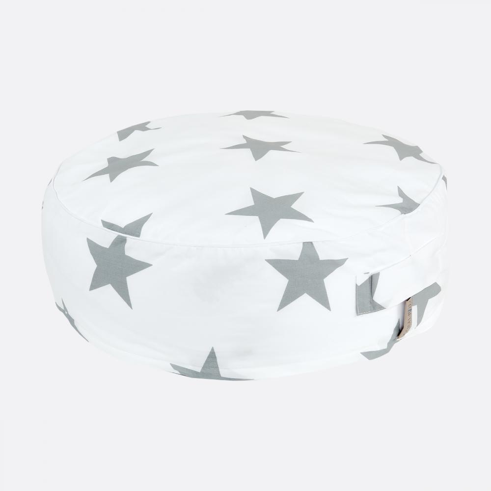 KraftKids Sitzpuff große graue Sterne auf Weiss mit Micro-EPS-Perlen mit TOXPROOF-ZERTIFIKAT des TÜV-Rheinland
