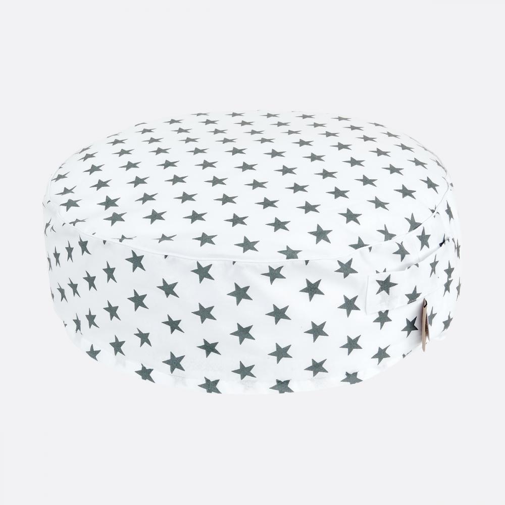 KraftKids Sitzpuff kleine graue Sterne auf Weiss mit Micro-EPS-Perlen mit TOXPROOF-ZERTIFIKAT des TÜV-Rheinland