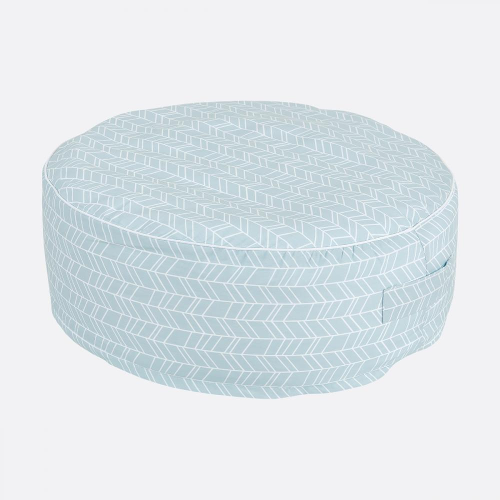 KraftKids Sitzpuff weiße Feder Muster auf Blau mit Micro-EPS-Perlen mit TOXPROOF-ZERTIFIKAT des TÜV-Rheinland