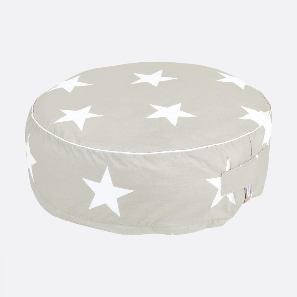 KraftKids Sitzpuff große weiße Sterne auf Beige mit Micro-EPS-Perlen mit TOXPROOF-ZERTIFIKAT des TÜV-Rheinland