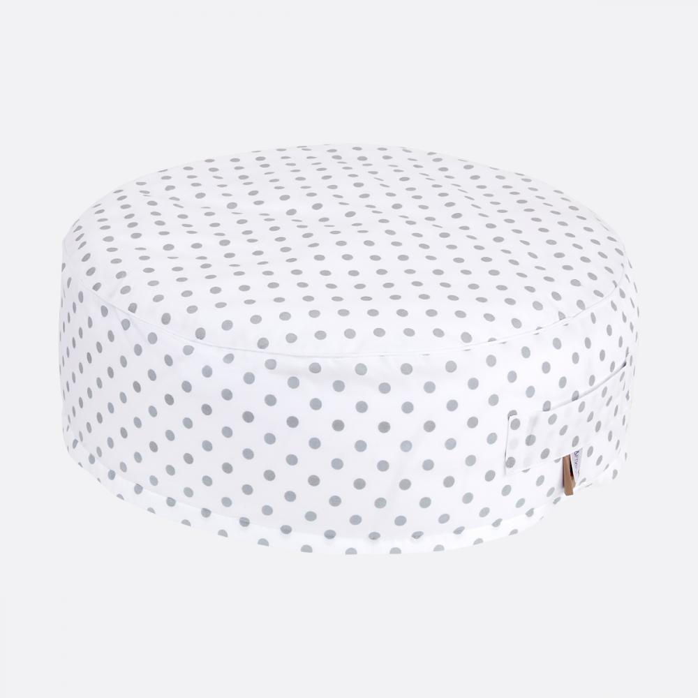 KraftKids Sitzpuff weiße Punkte auf Grau mit geprüften Micro-EPS-Perlen mit