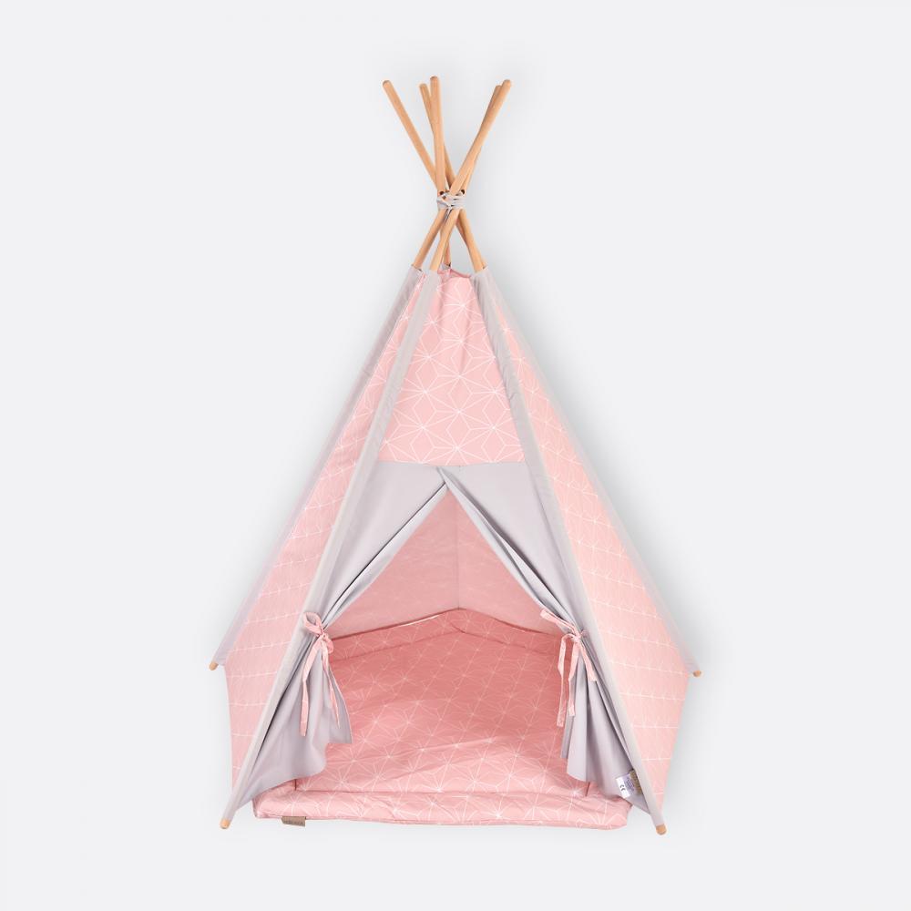 KraftKids Tipi Sets in Rosa weiße dünne Diamante auf Altrosa inkl. Spielmatte