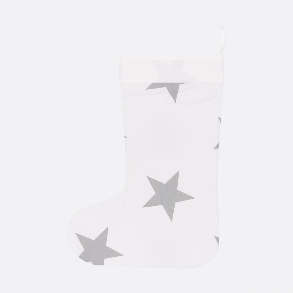 KraftKids Weihnachtssocke große graue Sterne auf Weiss Weihnachtsstrumpf