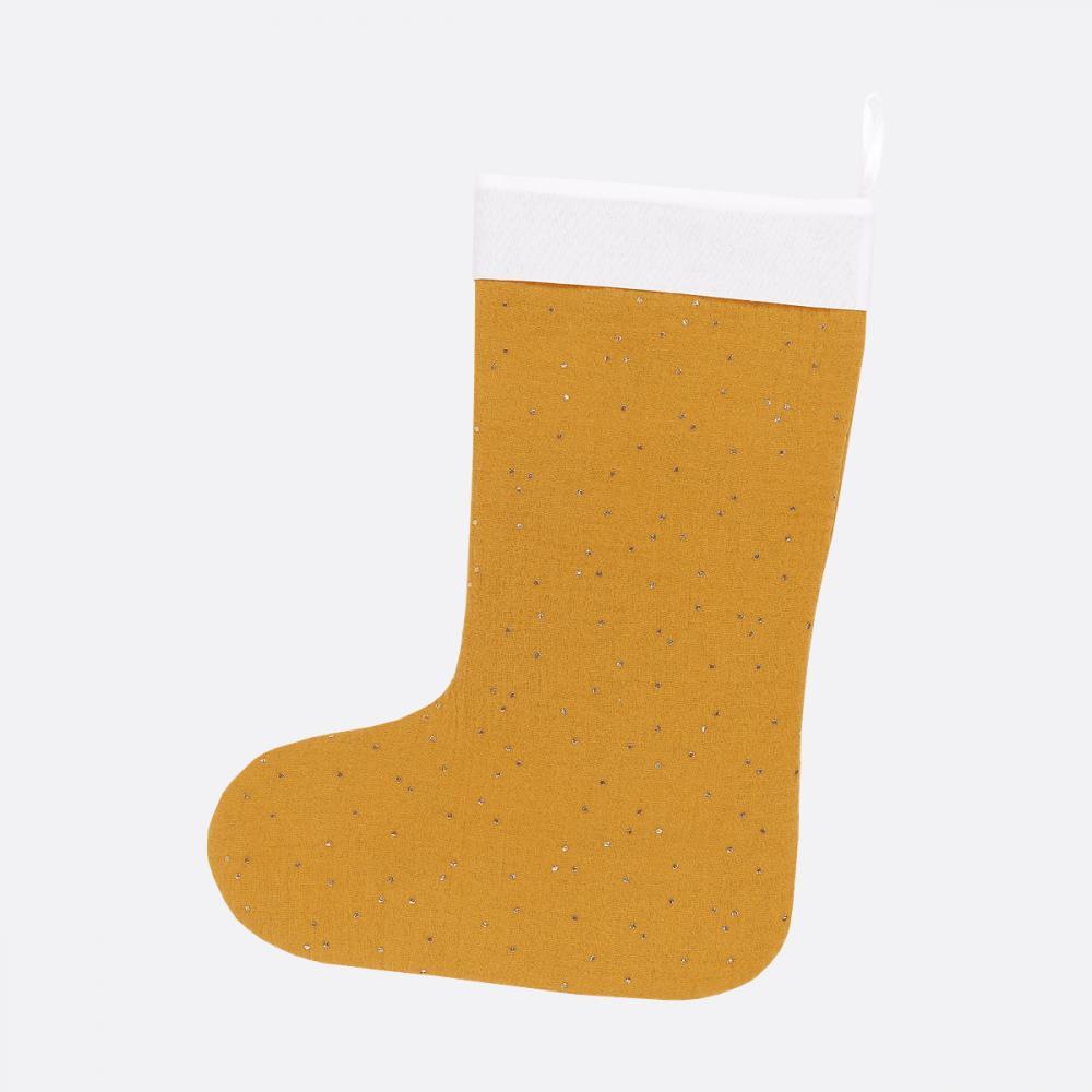 KraftKids Weihnachtssocke Musselin goldene Punkte auf Gelb Weihnachtsstrumpf