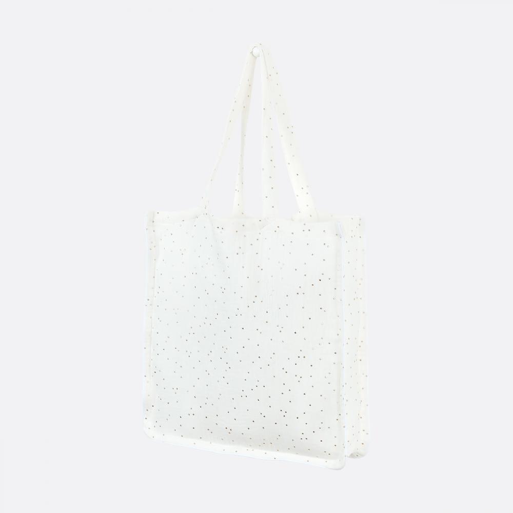 KraftKids Tragetasche Musselin goldene Punkte auf Weiß Shopper