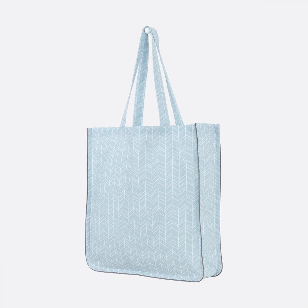KraftKids Tragetasche weiße Feder Muster auf Blau Shopper