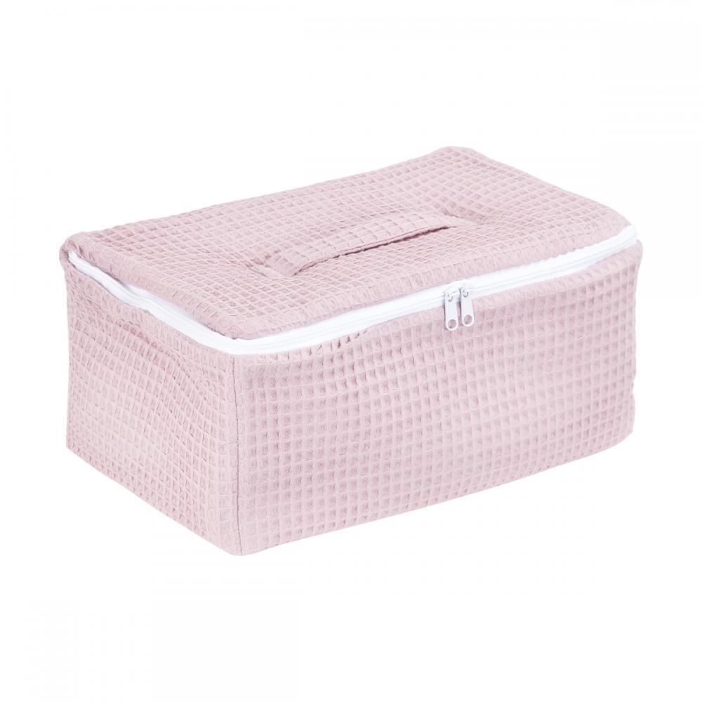 KraftKids Körbchen verschliessbar Waffel Piqué rosa 30 x 18 x 15 cm
