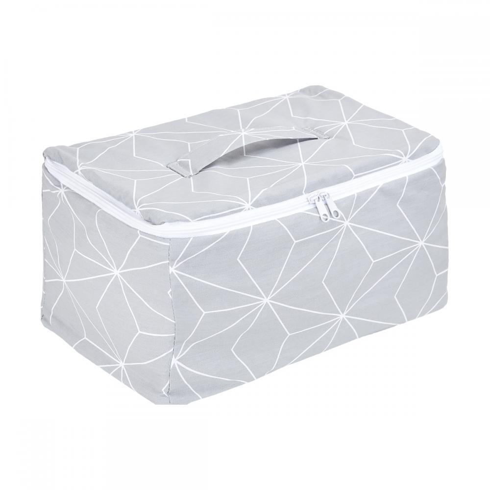 KraftKids Körbchen verschliessbar weiße dünne Diamante auf Grau 30 x 18 x 15 cm