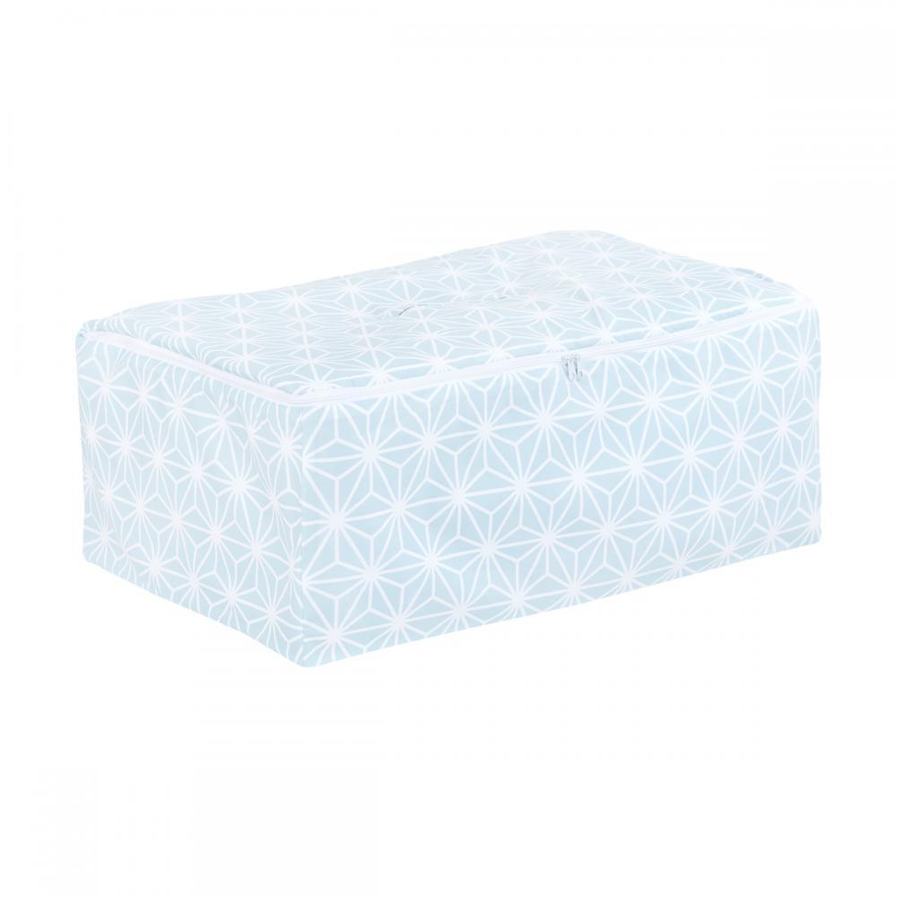 KraftKids Aufbewahrungsbox Stoff weiße Diamante auf Pastel Blau 60 x 40 x 17 cm