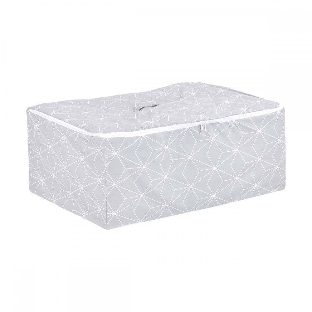 KraftKids Körbchen für Unterbett weiße dünne Diamante auf Grau 60 x 40 x 17 cm