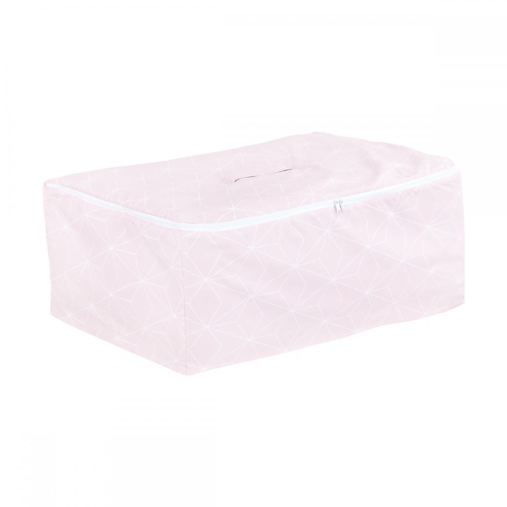 KraftKids Aufbewahrungsbox Stoff weiße dünne Diamante auf Altrosa 60 x 40 x 17 cm