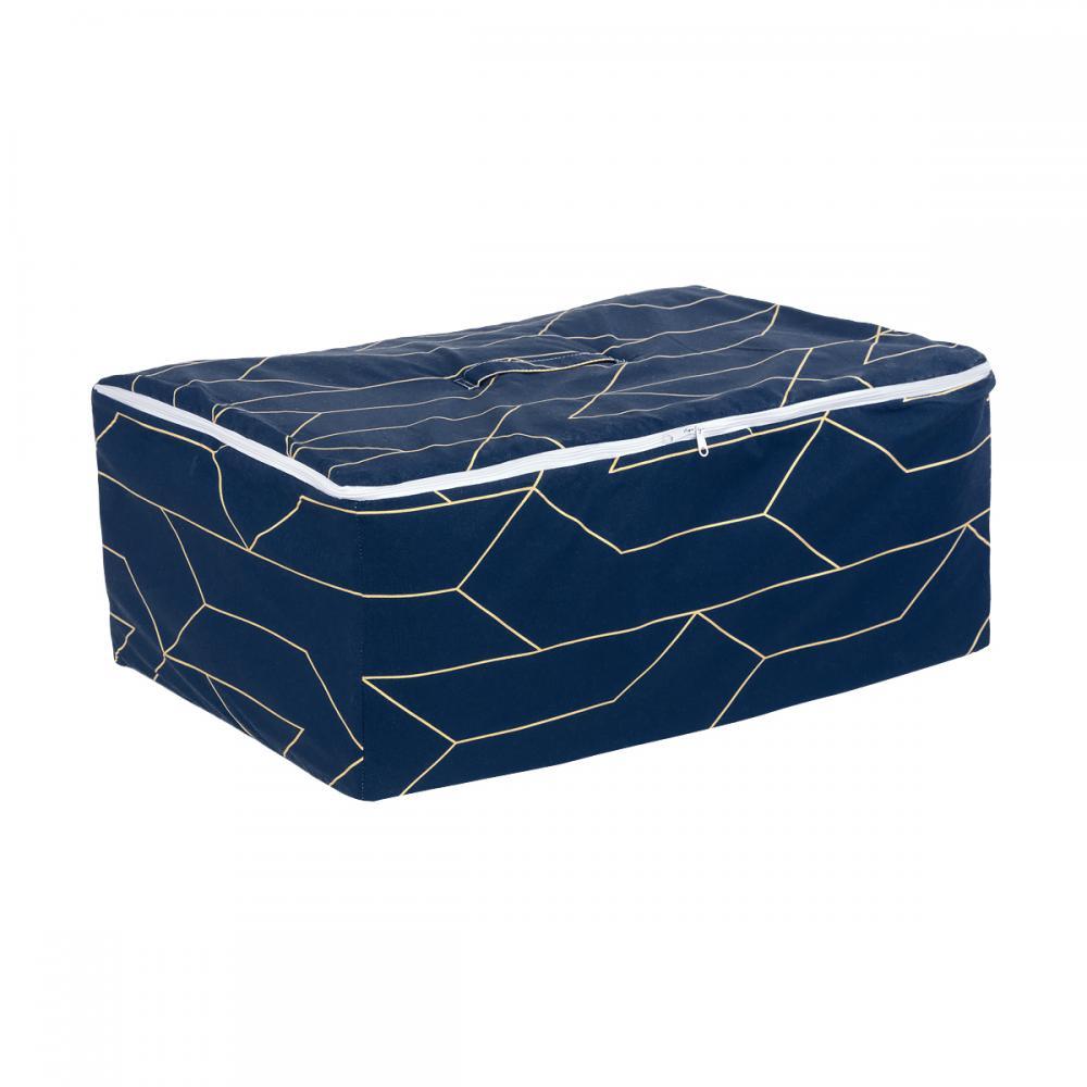 KraftKids Körbchen für Unterbett goldene Linien auf Dunkelblau 60 x 40 x 17 cm