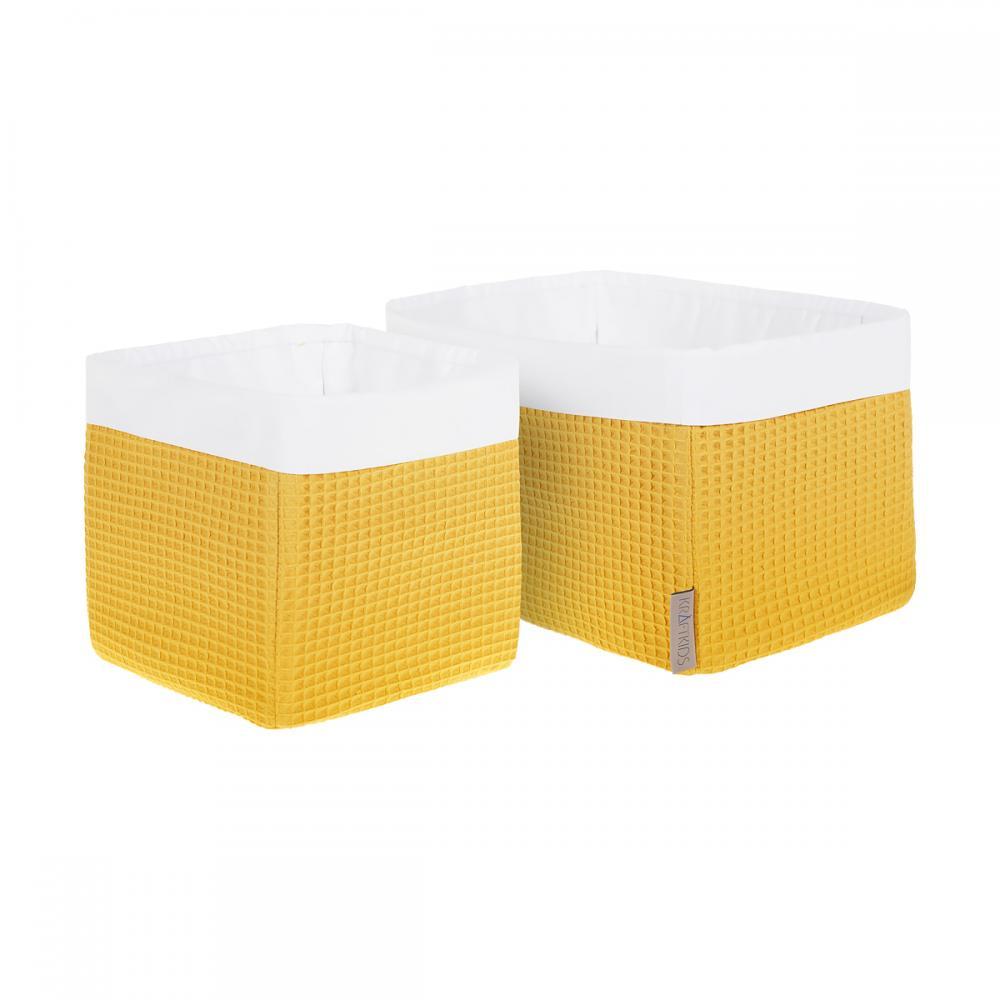 KraftKids Körbchen Waffel Piqué mustard 20 x 33 x 20 cm