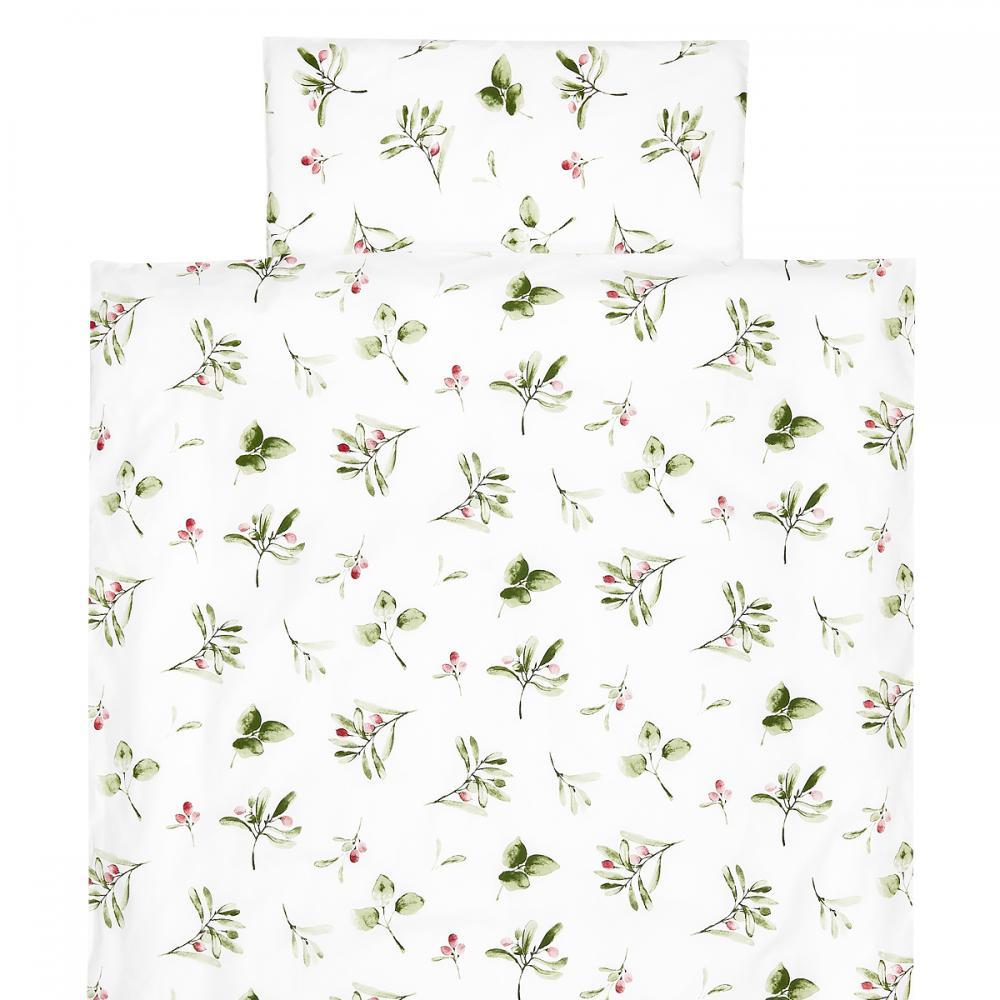 KraftKids Bettwäscheset Zweige grün rot auf Weiß 100 x 135 cm, Kissen 40 x 60 cm