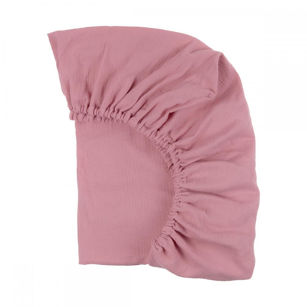 KraftKids Spannbettlaken Musselin rosa passend für Matratze 120 x 60 cm