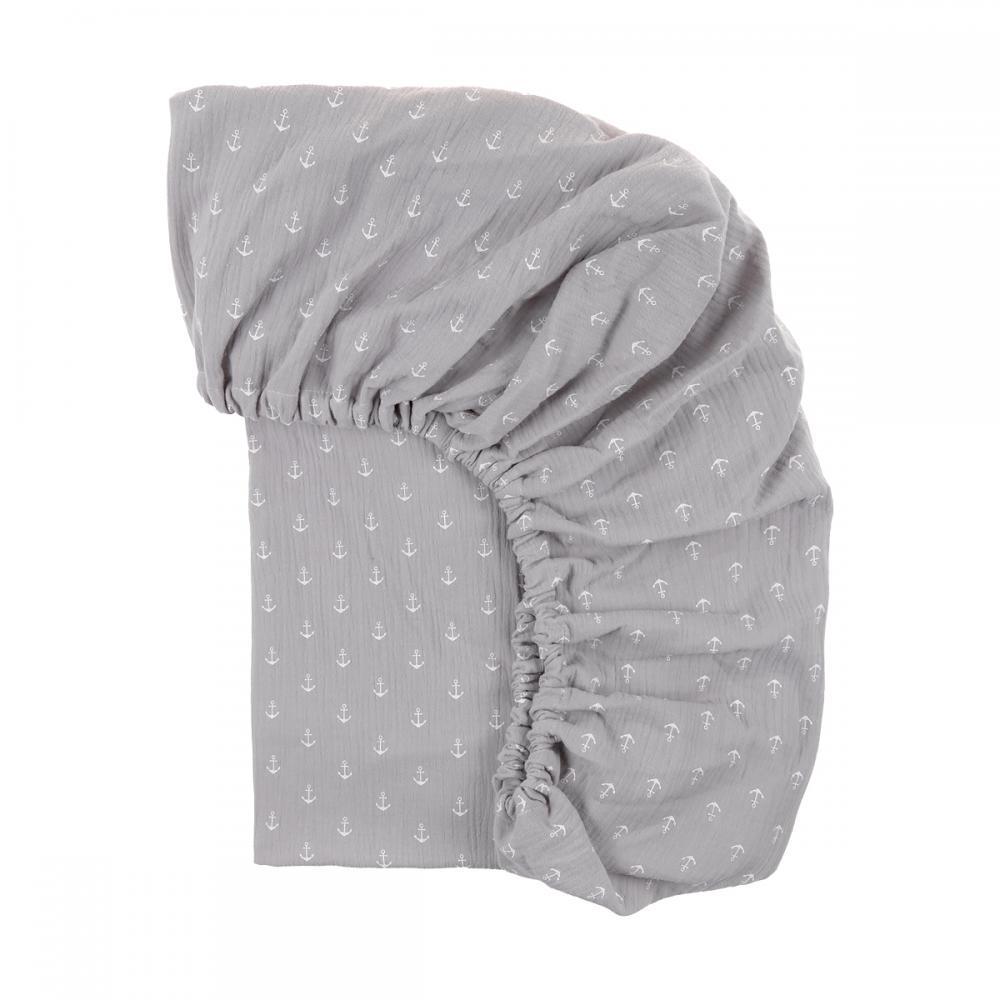 KraftKids Spannbettlaken Musselin grau Anker passend für Matratze 120 x 60 cm