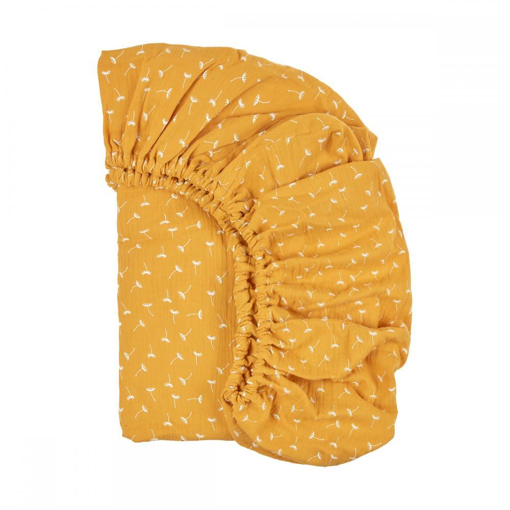 KraftKids Spannbettlaken Musselin gelb Pusteblumen passend für Matratze 120 x 60 cm