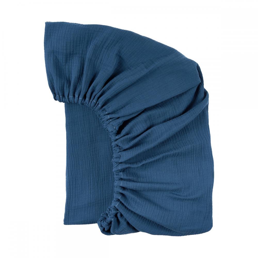KraftKids Spannbettlaken Musselin blau passend für Matratze 140 x 70 cm
