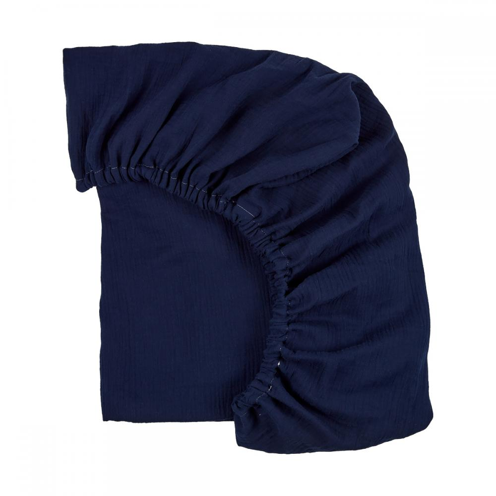 KraftKids Spannbettlaken Musselin dunkelblau passend für Matratze 140 x 70 cm