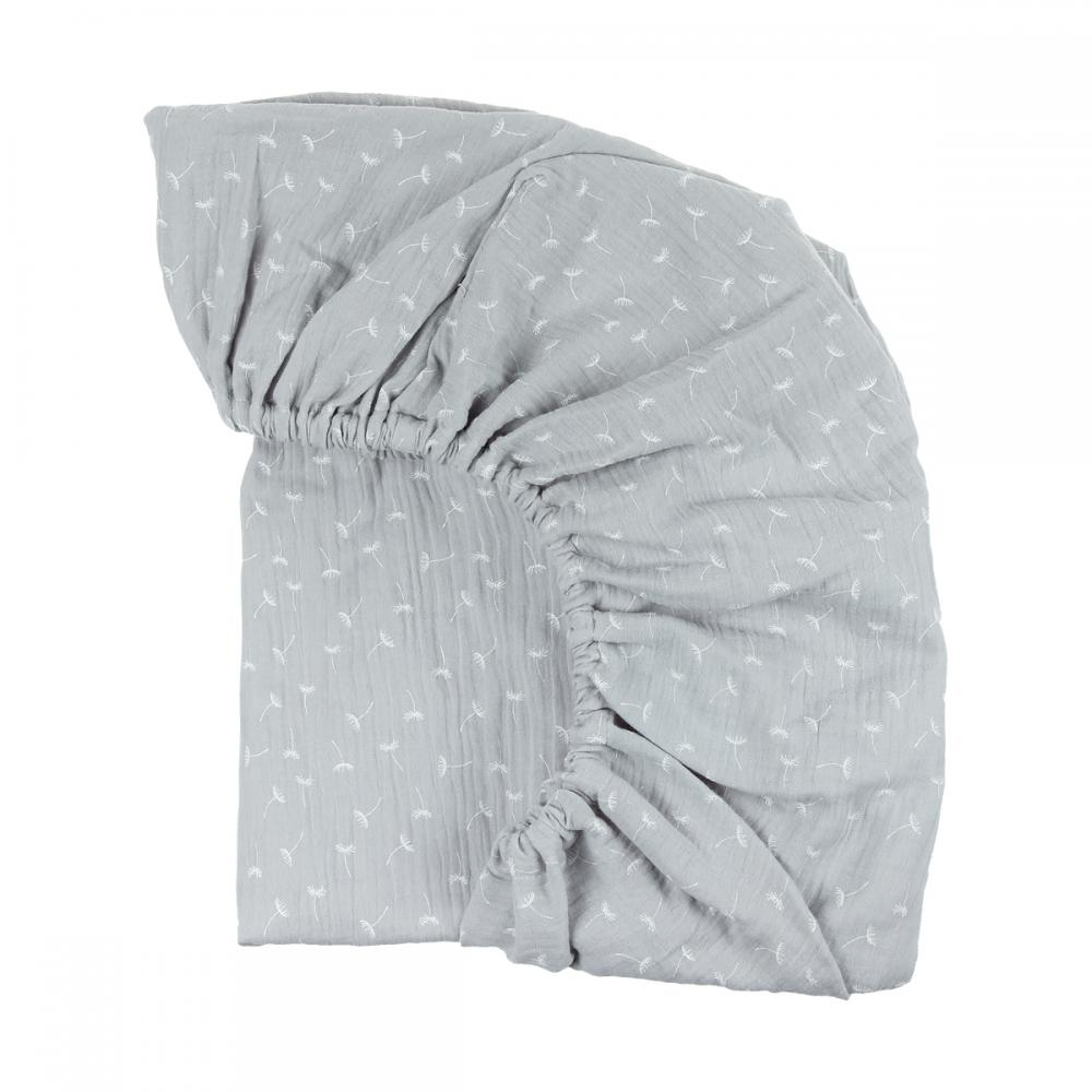 KraftKids Spannbettlaken Musselin grau Pusteblumen passend für Matratze 140 x 70 cm