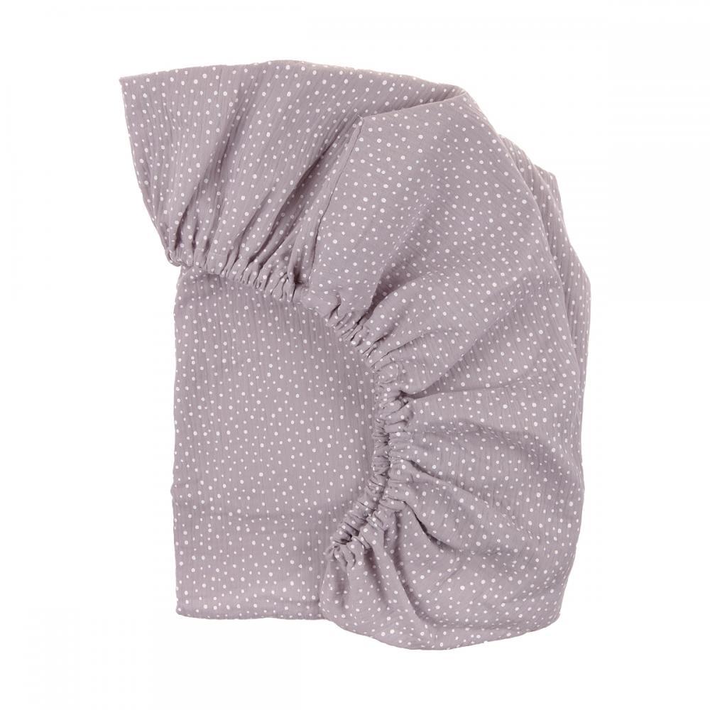 KraftKids Spannbettlaken Musselin grau Punkte passend für Matratze 140 x 70 cm