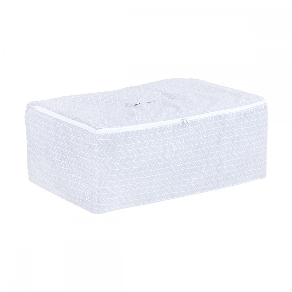 KraftKids Körbchen für Unterbett weiße Feder Muster auf Grau 60 x 40 x 17 cm