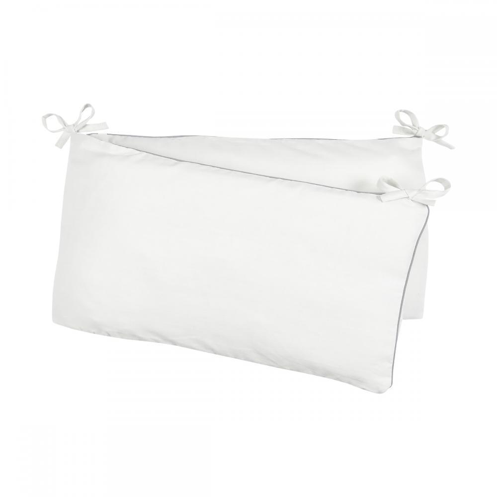 KraftKids Nestchen Leinen leicht grünes Weiß Nestchenlänge 60-60-60 cm für Bettgröße 120 x 60 cm