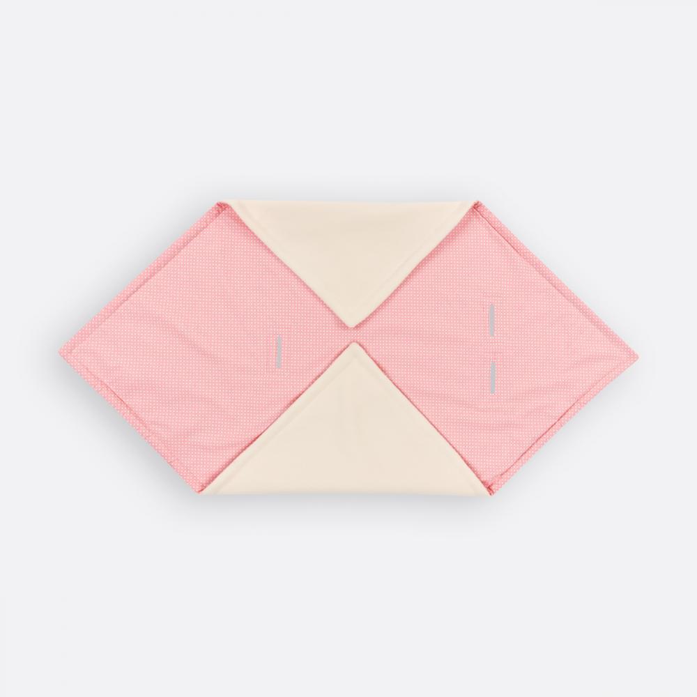 KraftKids Decke für Babyschale Winter weiße Punkte auf Koralrosa