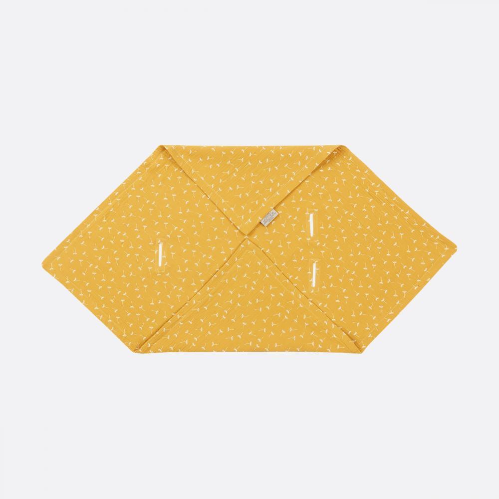 KraftKids Babydecke für Babyschale Sommer Musselin gelb Pusteblumen